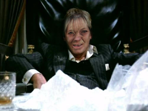 Tenley Myers as Tony Montana with a huge pile of Cocaine.  Tenley love her some cocaine. Just listen to her nose whistle.